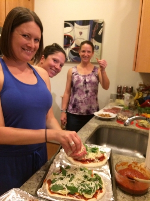 Jen, Ellen and Carolyn making pizza
