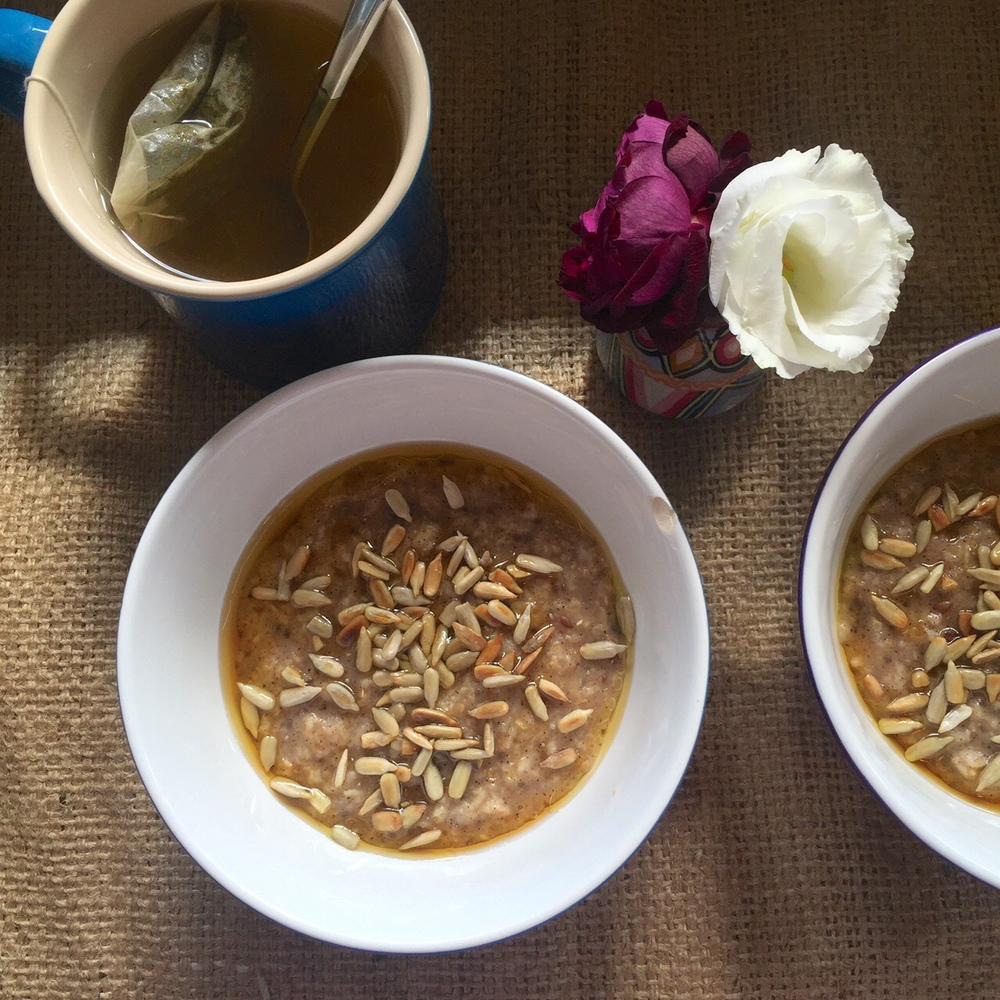 super energy oatmeal with sunflower seeds