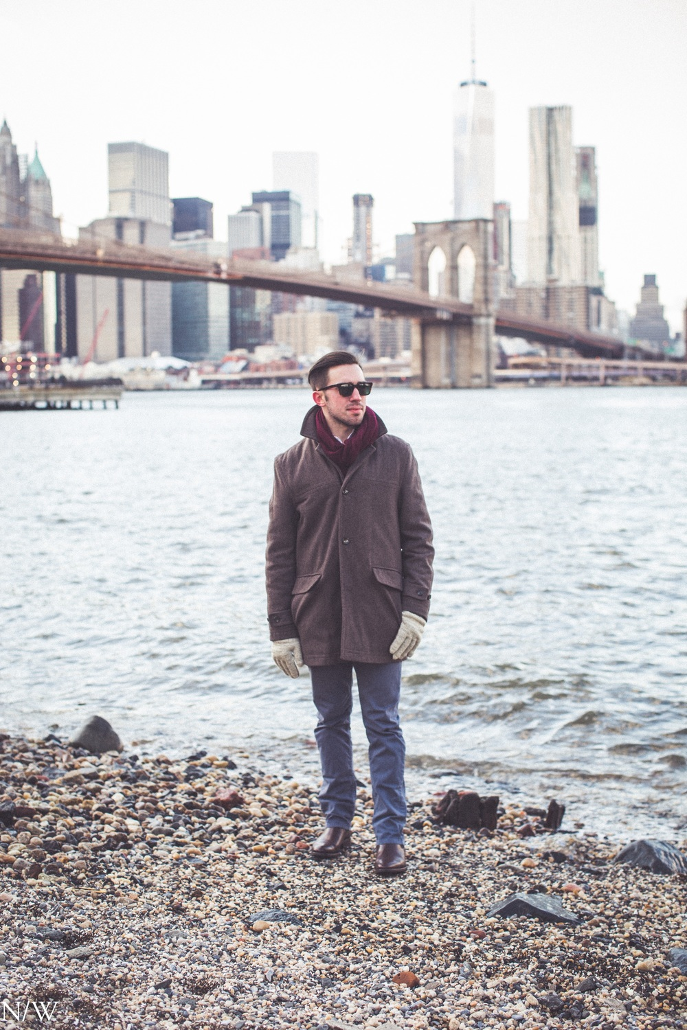 Sunglasses: Warby Parker | Scarf: H&M | Coat: London Fog | Pants: Billy Reid | Boots: Jack Erwin Photo by: Noah Williams