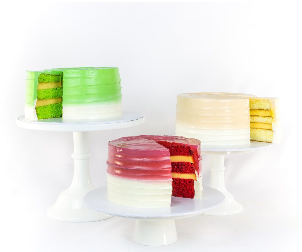 Pandan, Red Velvet, & Vanilla Bean (pictured left to right)