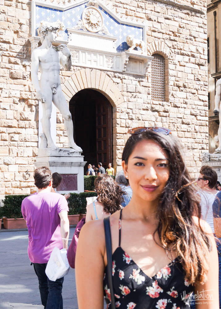 Mel by replica of Michelangelo's David, Piazza Signoria, Loggia. Uffizi Gallery. Florence, Italy.