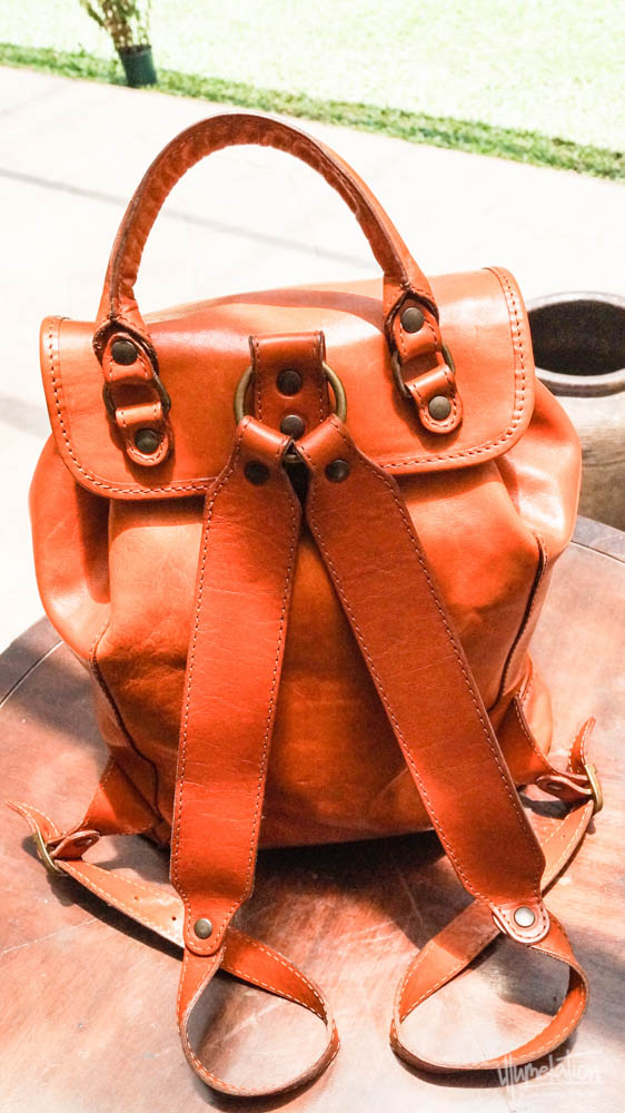 Tan leather rucksack purchased at Ponte Vecchio Bridge, Florence, Italy. 2015.
