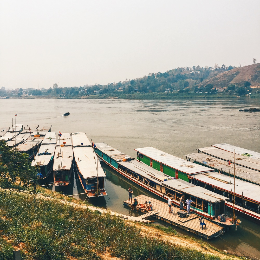 Wooden Slow Boats on the Mekong River in Laos