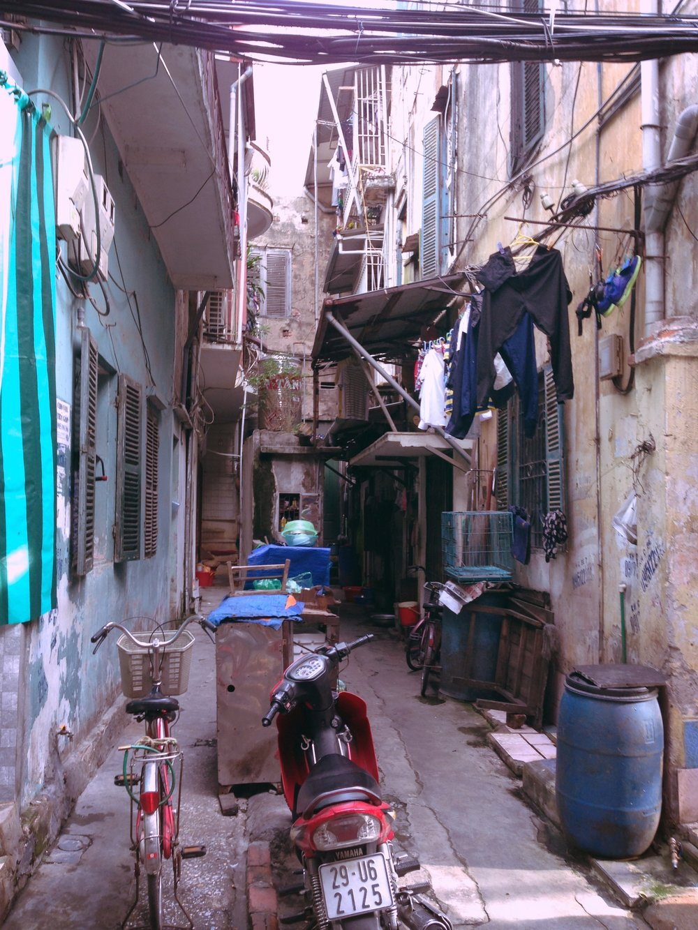 Side Street and Motorbike in Hanoi, Vietnam - illumelation.com