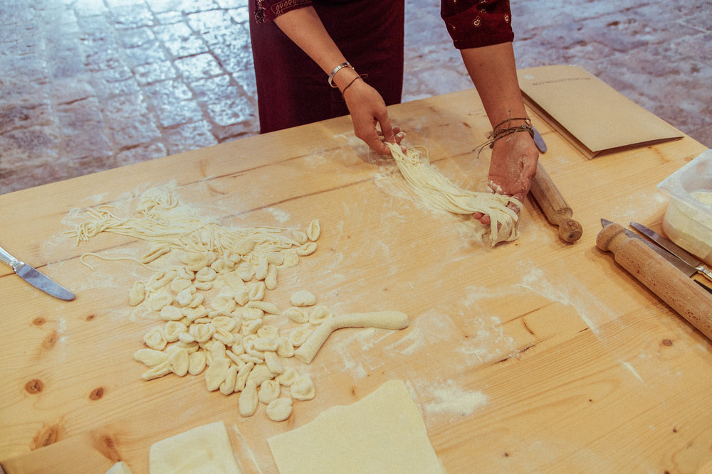 Making fresh orecchiette pasta and spaghetti at Masseria Torre Coccaro