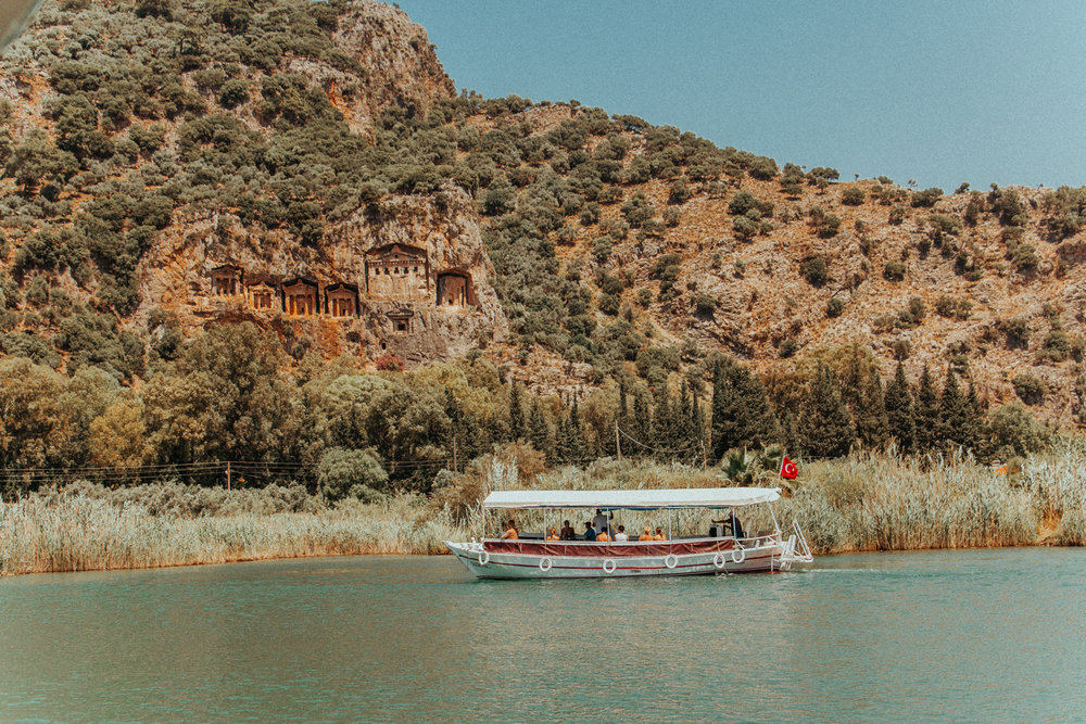 dalmyan river boat - lycian rock tombs