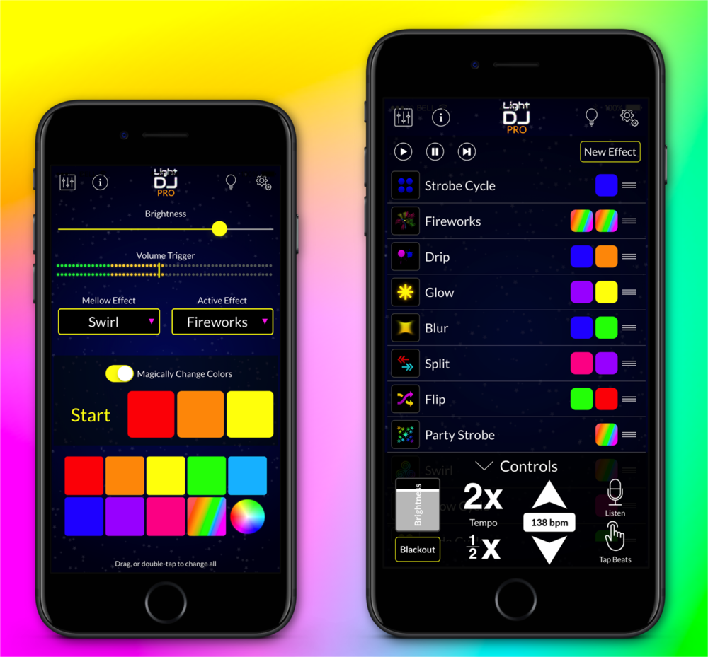 Light DJ for iPhone provides a number of different ways to control your Philips Hue and LIFX smart bulbs.