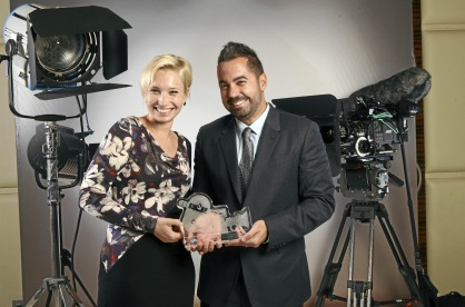 EXECUTIVE PRODUCER EVA SAYRE AND DIRECTOR MAHMOUD KAABOUR WITH THE AWARD FOR BEST PRODUCTION OF THE YEAR FROM THE DIGITAL STUDIOS AWARDS