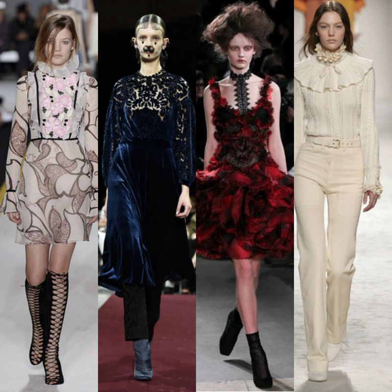 Left to right: Giambattista Valli, Givenchy, Alexander McQueen, Serafini