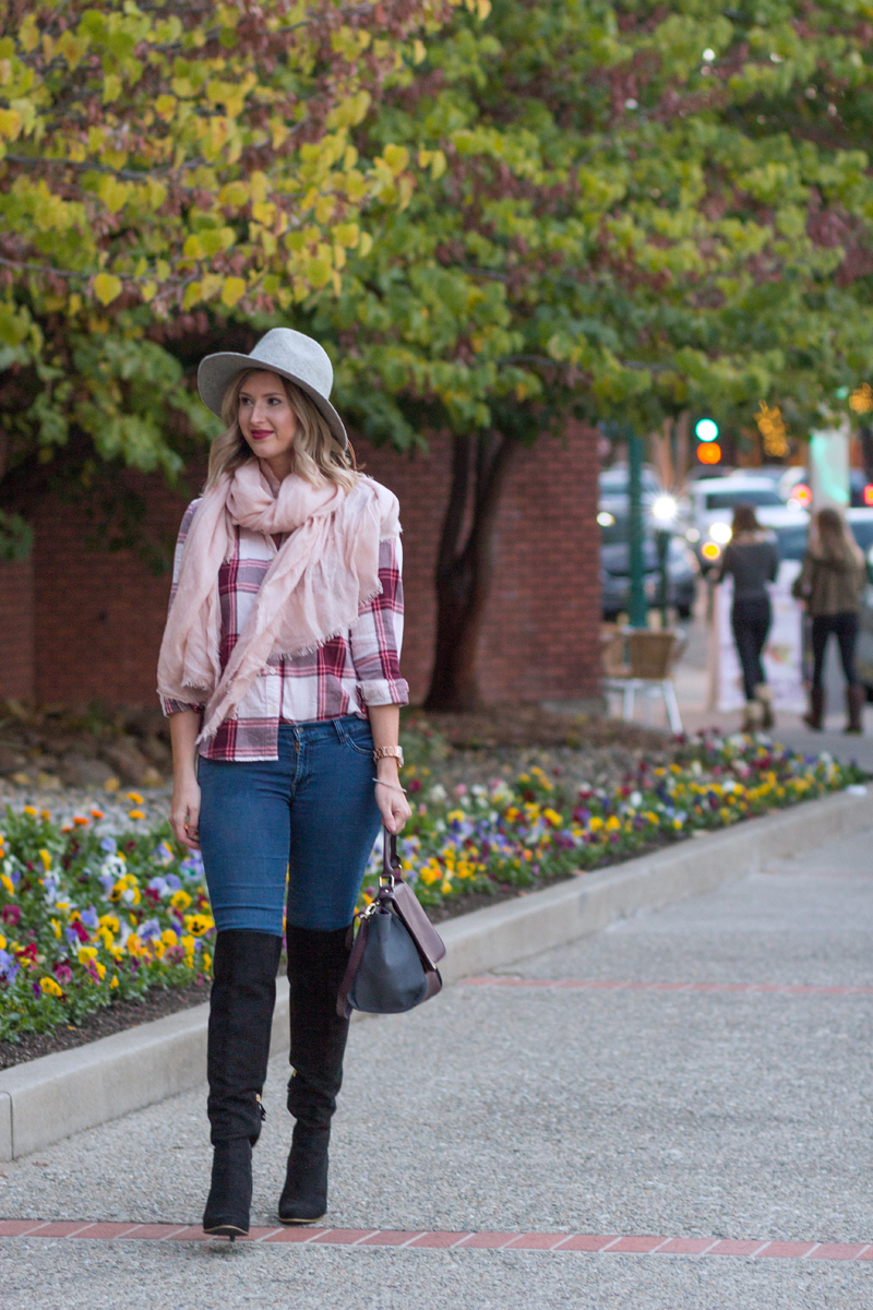 Top: Old Navy,  similar //Jeans: Seven For All Mankind,  similar //Boots: Sam Edelman,  similar //Scarf: H&M,  similar //Hat:  Target //Watch: Michael Kors//Bag: Target,  similar //