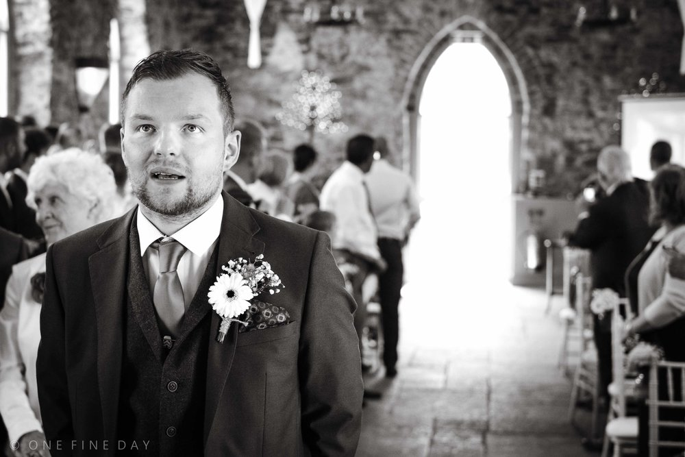 Nervous groom before the wedding ceremony at Orange Tree House, Greyabbey, Northern Ireland
