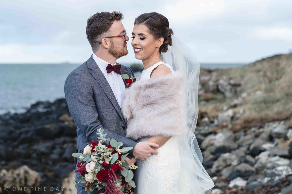 Bride and groom relaxed wedding portrait Ballygally
