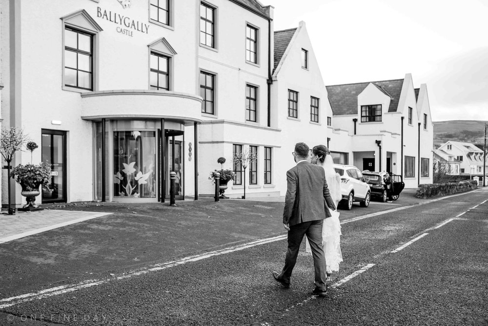 Bride and groom at ballygally castle wedding