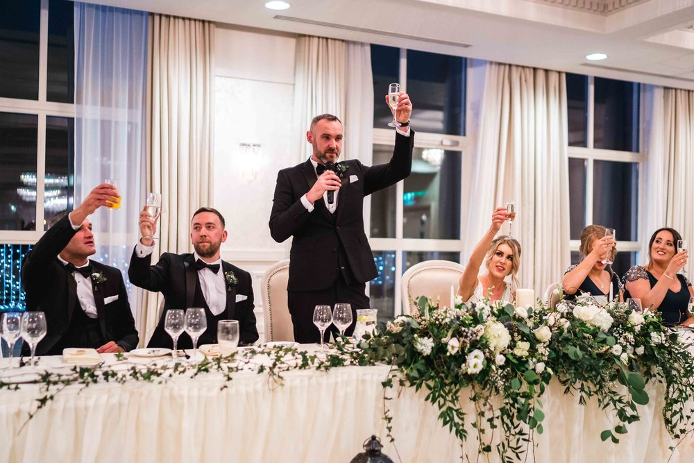Natural photograph of wedding speecehes four seasons carlingford ireland