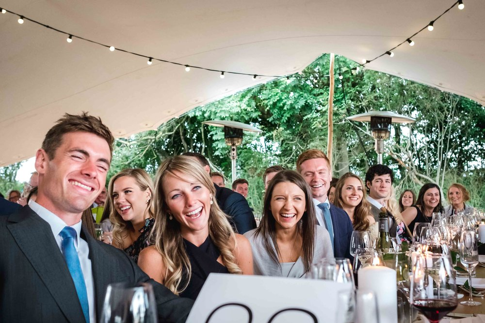 Relaxed and natural wedding photograph of guests at Northern Ireland Wedding