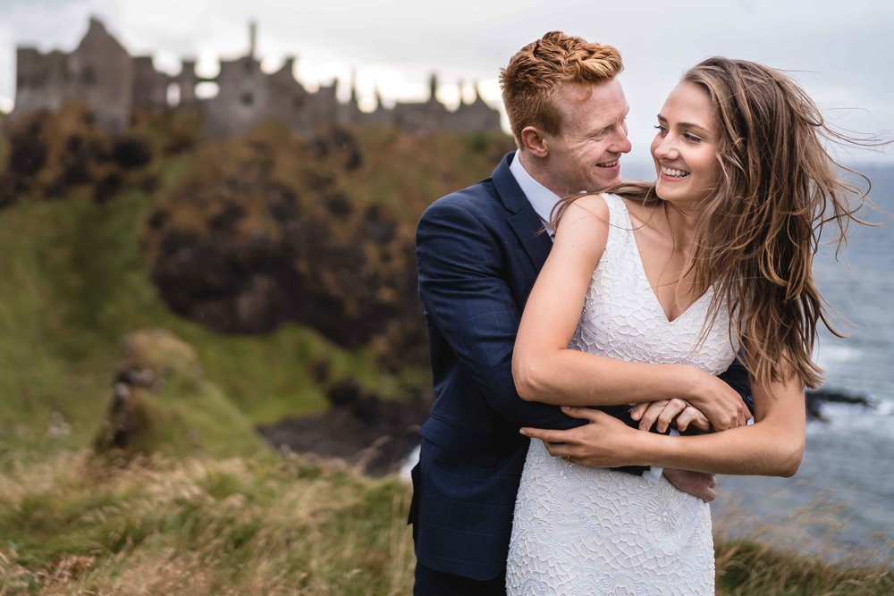 Natural and Relaxed wedding photograph at Dunluce Castle North Coast of Ireland