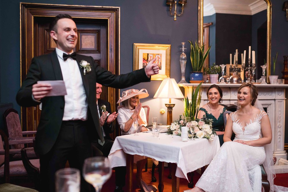 Natural and un-posed photograph of Groom's wedding Speech at Tinakilly House, Wicklow, ireland