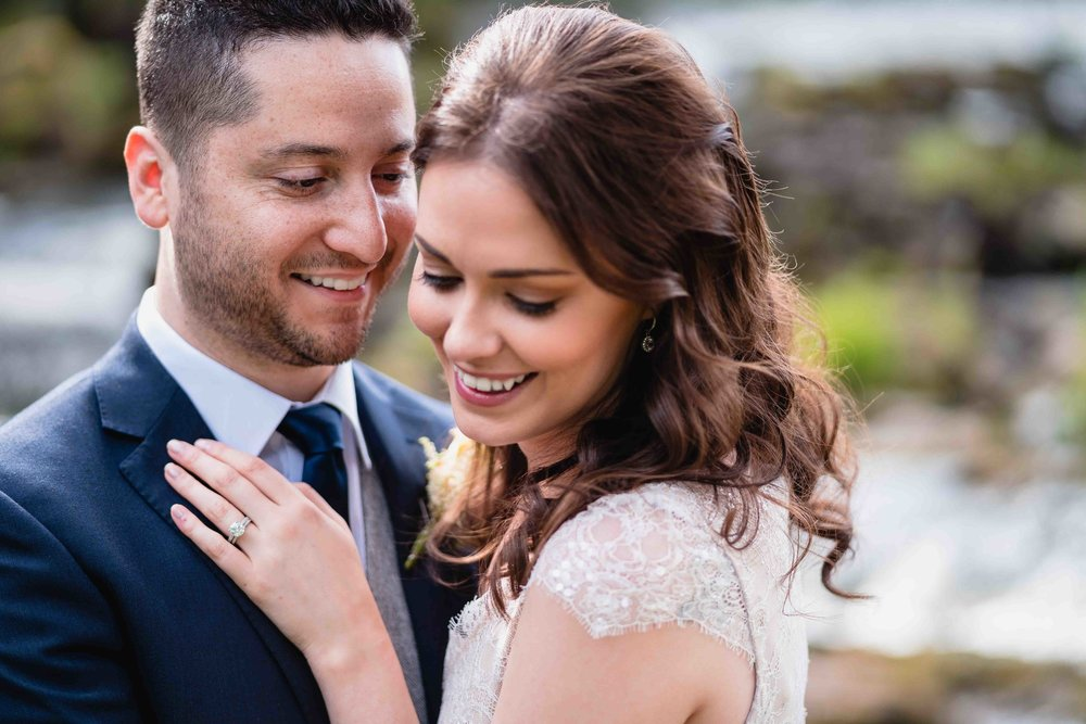 Relaxed and Natural Moment between Bride and Groom at their wedding in Northern Ireland