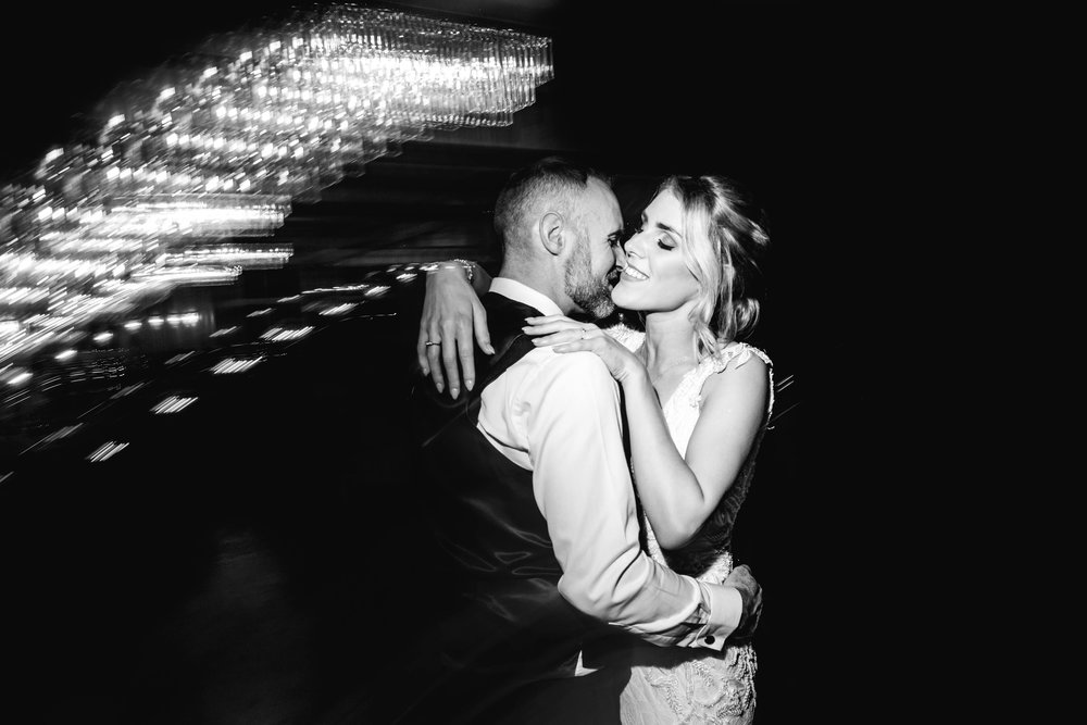 Natural image of Bride and Groom kissing on the dance floor Carlingford Four Seasons