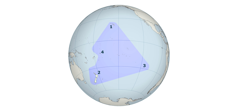 """Figure 2   - The Polynesian Triangle, with Hawaii (1), New Zealand (2), and Easter Island (3) at its corners. Samoa (4) is shown to the west. Source:   """"Architecture of Samoa.""""    Wikipedia, The Free Encyclopedia .   Wikipedia Foundation, Inc.. 16 May 2012. Web. 20 July 2012 (edited)."""