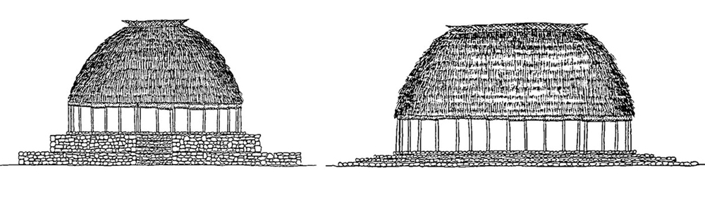 Figure 4   - the two types of guest    fale   ;    fale tele    (round house) left, and    fale afolau    (long house) right. Source:   Higginson, F. L., ed.    The Samoan Fale   . Apia: UNESCO Office for the Pacific States, 1992: 77. Print. (edited)