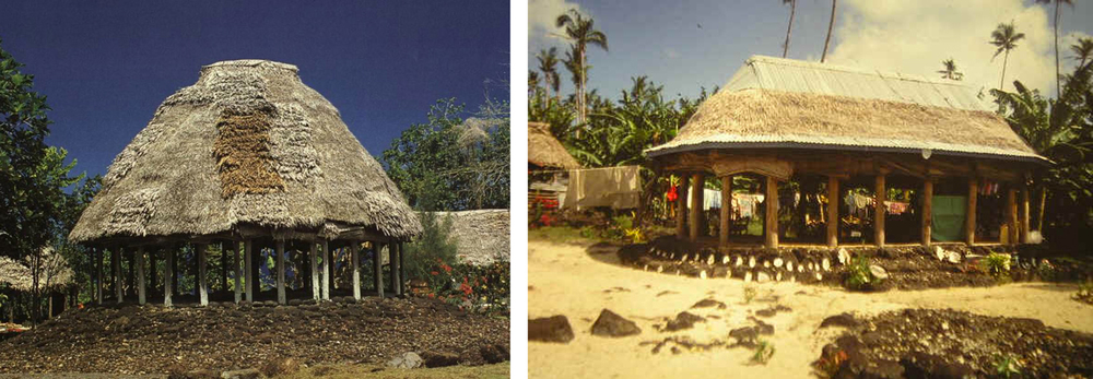Figure 3  (Left) - A photograph of a traditional fale tele.     Figure 4  (Right) - A modern Samoan   fale  , with a corrugated iron roof.Higginson, page 32.