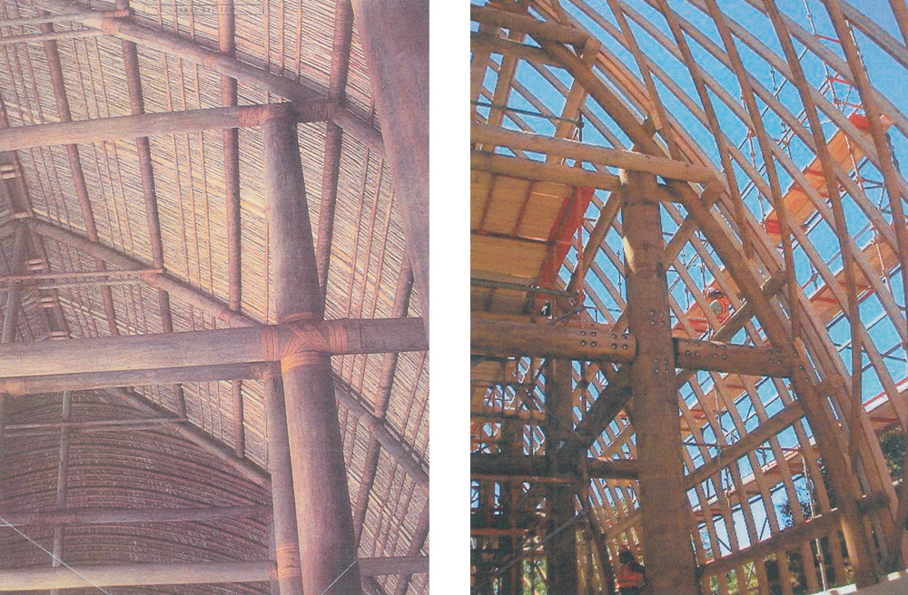 Figure 9  (Left) - Traditional Samoan timber structure with lashed joints, and    Figure 10  (Right) - Fale Pasifika under construction, showing the gusset frames joining timber members before being covered in   'afa   lashing.