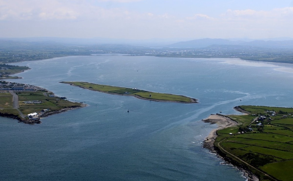 The entrance to Sligo Bay with Rosses Point peninsula on the left Coney Island on the Right and Oyster Island in the middle