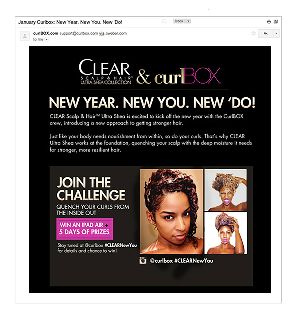 curlBox announces the partnership via an email blast.
