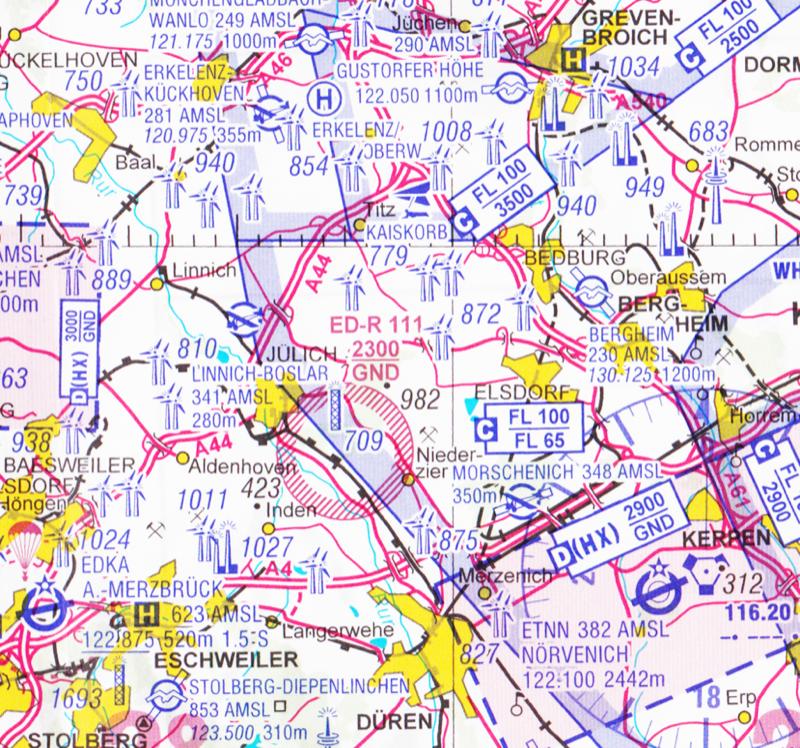 Erster Teil der Flugstrecke: vom UL-Flugplatz Morschenich nach Erkelenz-Kückhoven. Mit freundlicher Genehmigung der DFS Deutsche Flugsicherung GmbH Nicht für navigatorische Zwecke geeignet
