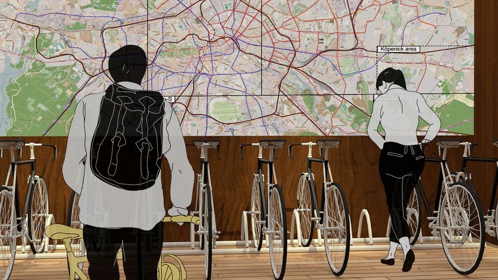 BOOT UP (LEVEL 1)  Our elevators open up to a wall of Transport bikes and map of Berlin, reinforcing mobility and navigation — two ideas essential to our brand.
