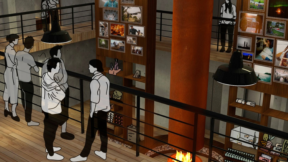 THE BALCONY  The decompress zone continues up into the top floor with a wrap around balcony overseeing the lower level. This space features a photo gallery of past guest's adventures as well as other Transport global destinations.