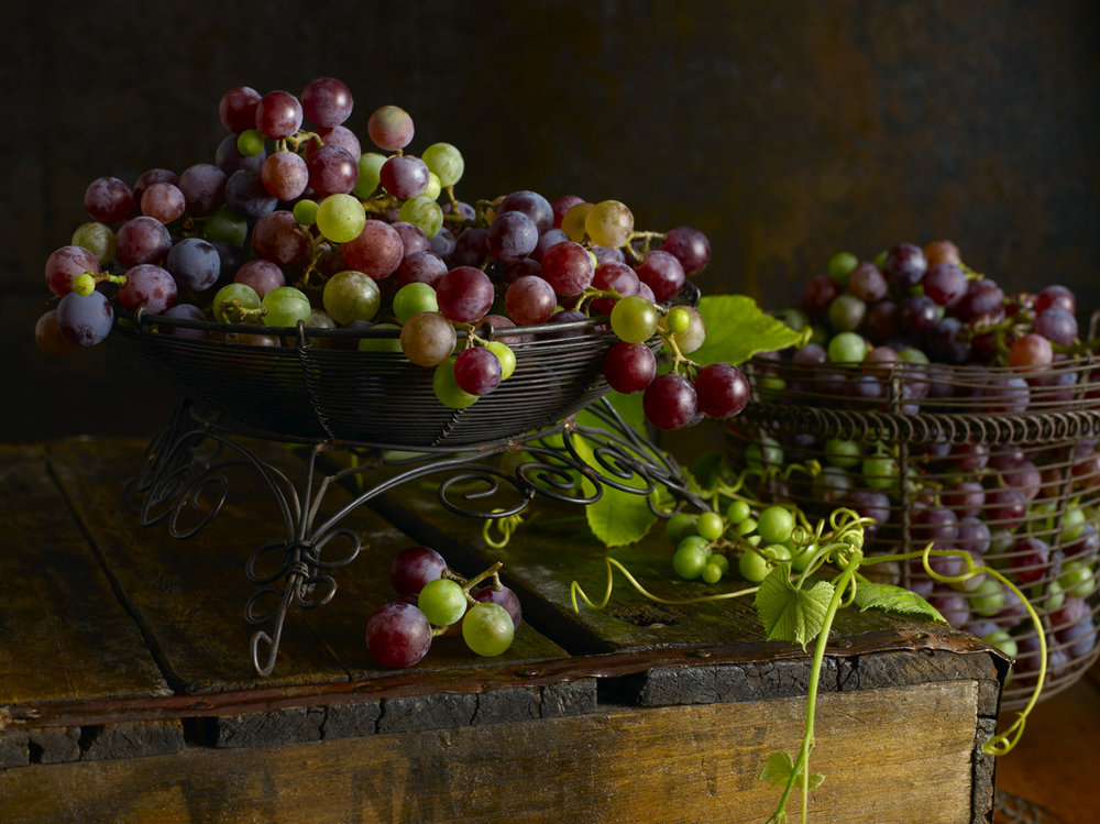Red Grapes, Green Grapes, Wire Basket, Grape Vine, Window Light