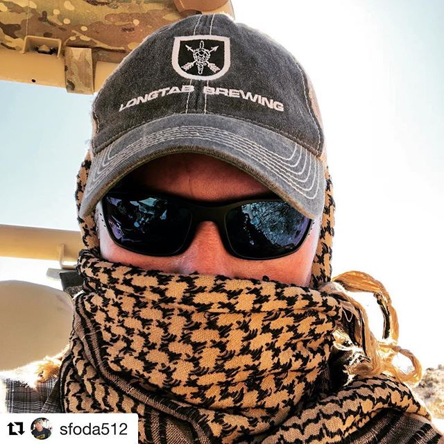 #Repost @sfoda512 ・・・ My shemagh is protecting me from the sand and wind. Wish I had a frosty #longtabbrewing cold one!#specialforces#greenberet