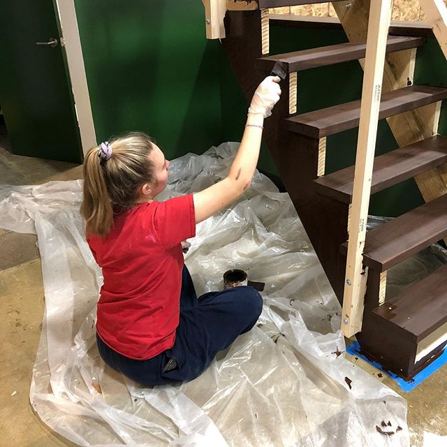 I'm pretty proud of my daughter who, even on a Saturday night, chose to come help at the brewery. Got the stairs stained and some baseboards installed.  She does damn good work!  More forward progress!