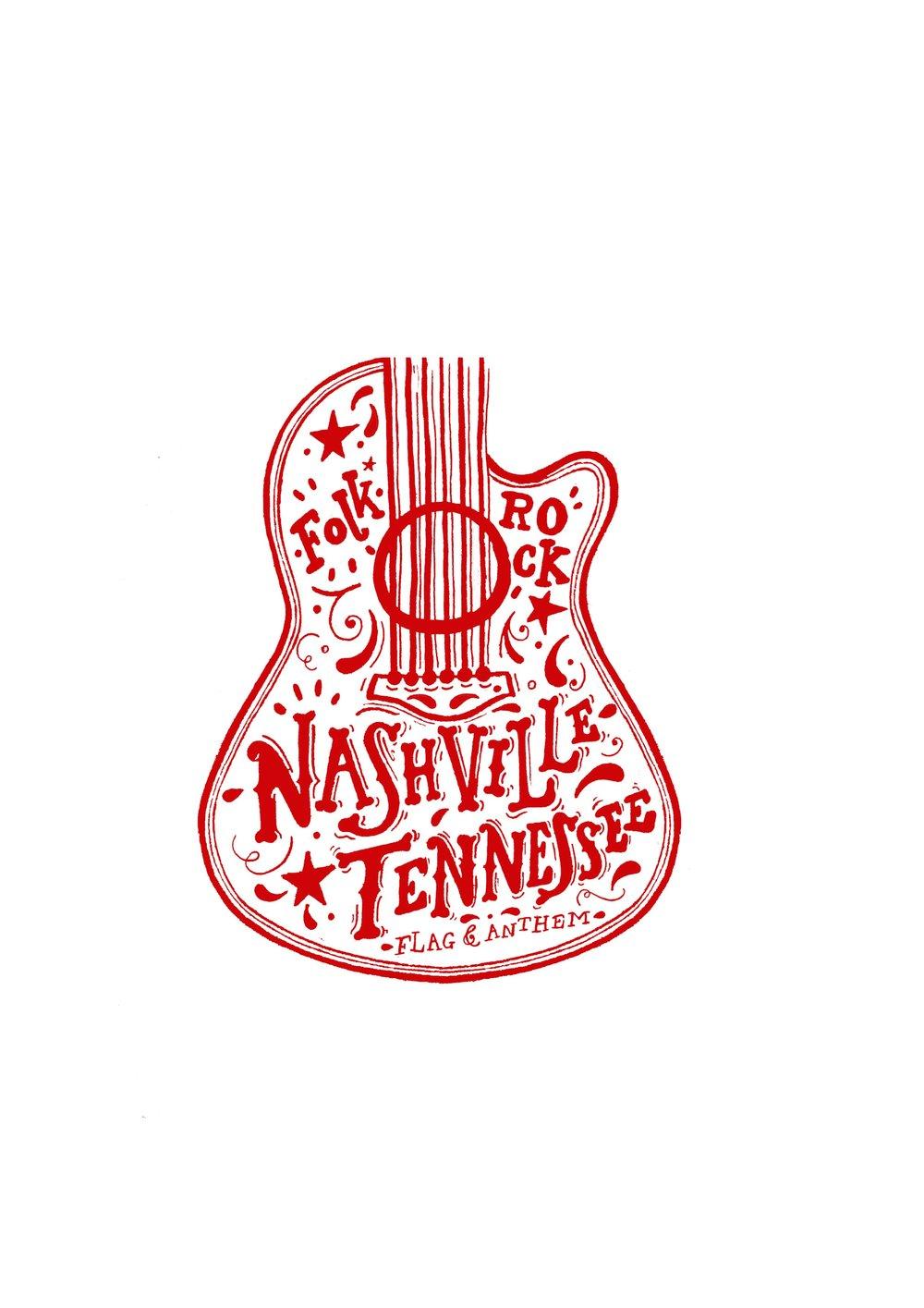 Folk Rock Nashville Tennessee - Nashville Typographic Illustration for Flag & Anthem Clothing,2016.