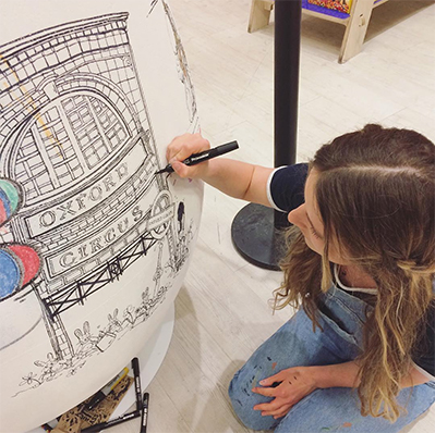 Easter London Live Illustration at Selfridges. - Collaboration with Selfridges Oxford St. Kids Floor for Easter 2017. I illustrated a monochrome Pen & Ink London scene over a week on a giant 3D egg.