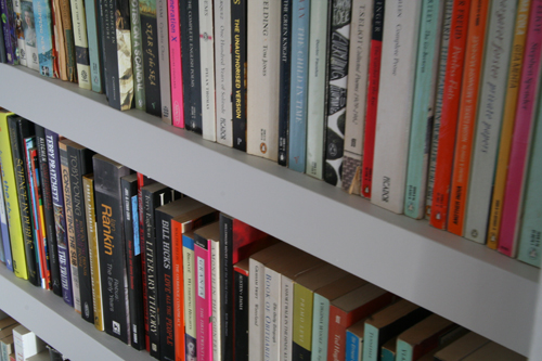 detail of alcove shelves painted in farrow & ball colour