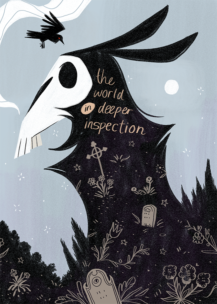 - THE WORLD IN DEEPER INSPECTION(ongoing at http://alcottgrimsley.com)An ongoing, serialised webcomic about a Victorian-era Jersey Devil detective and his friends as they help deliver peace to the recently-dead.