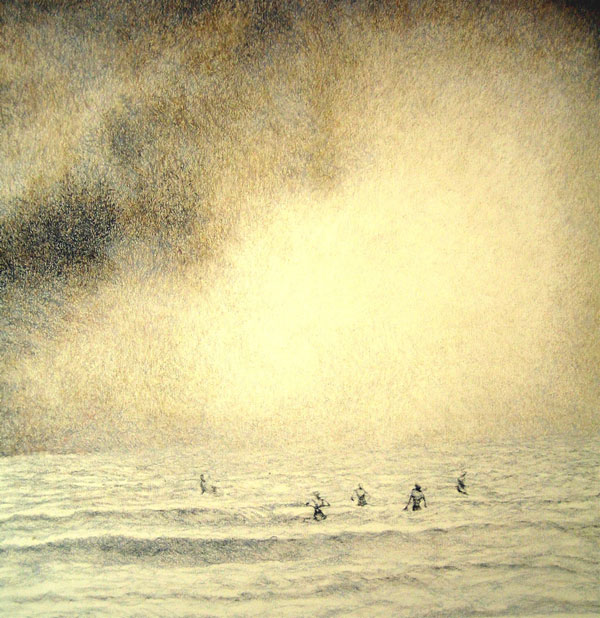 Swimmers,  Graphite and Oil Crayon on Paper, 16 x 20 inches, 2009