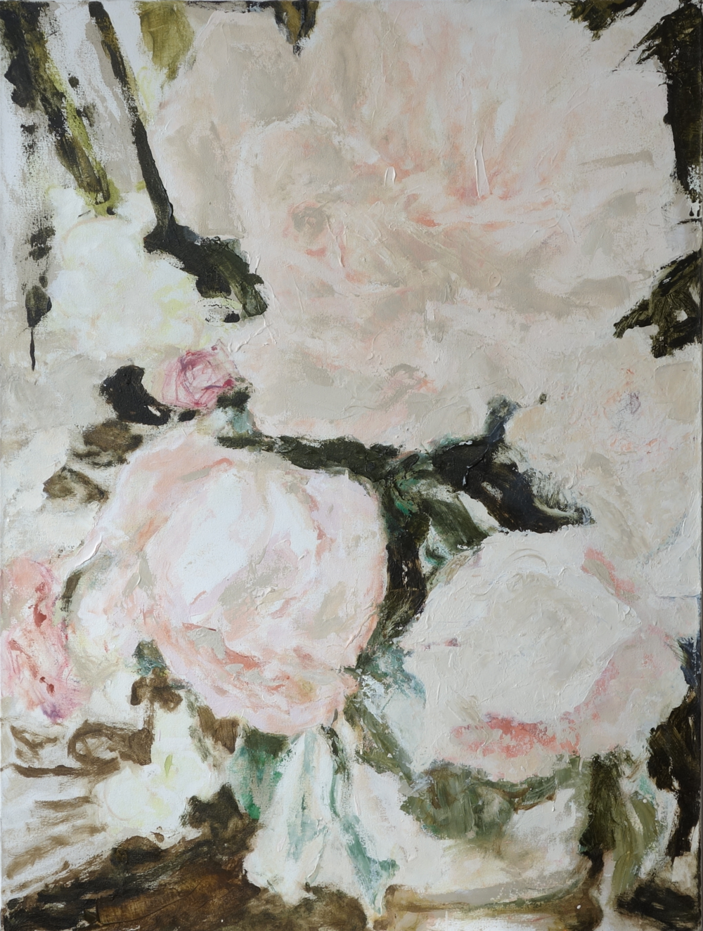 Beige Roses,  Oil on Canvas