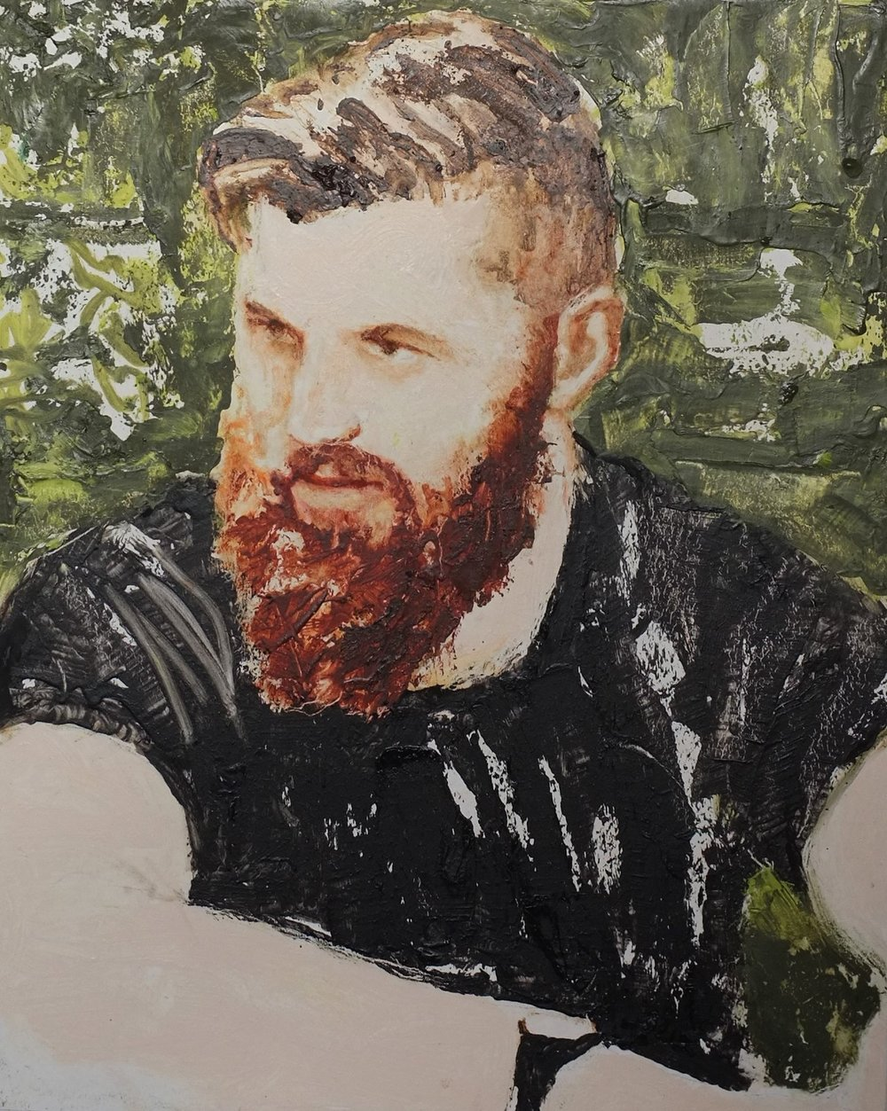Man with Red Beard,  Oil on Wood