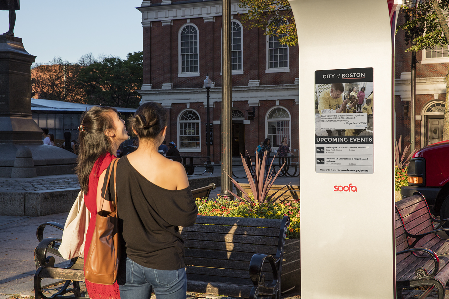 First Soofa Sign Is Up And Running In Faneuil Hall Boston