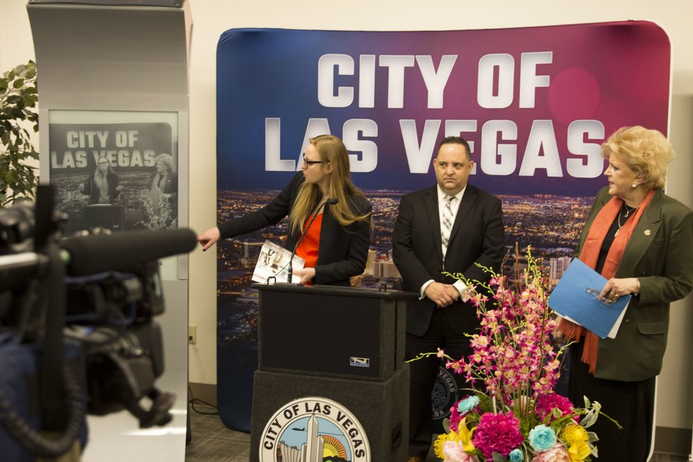 Soofa's CEO, Sandra Richter, Las Vegas' Director of IT, Michael Lee Sherwood and Las Vegas Mayor Carolyn Goodman.