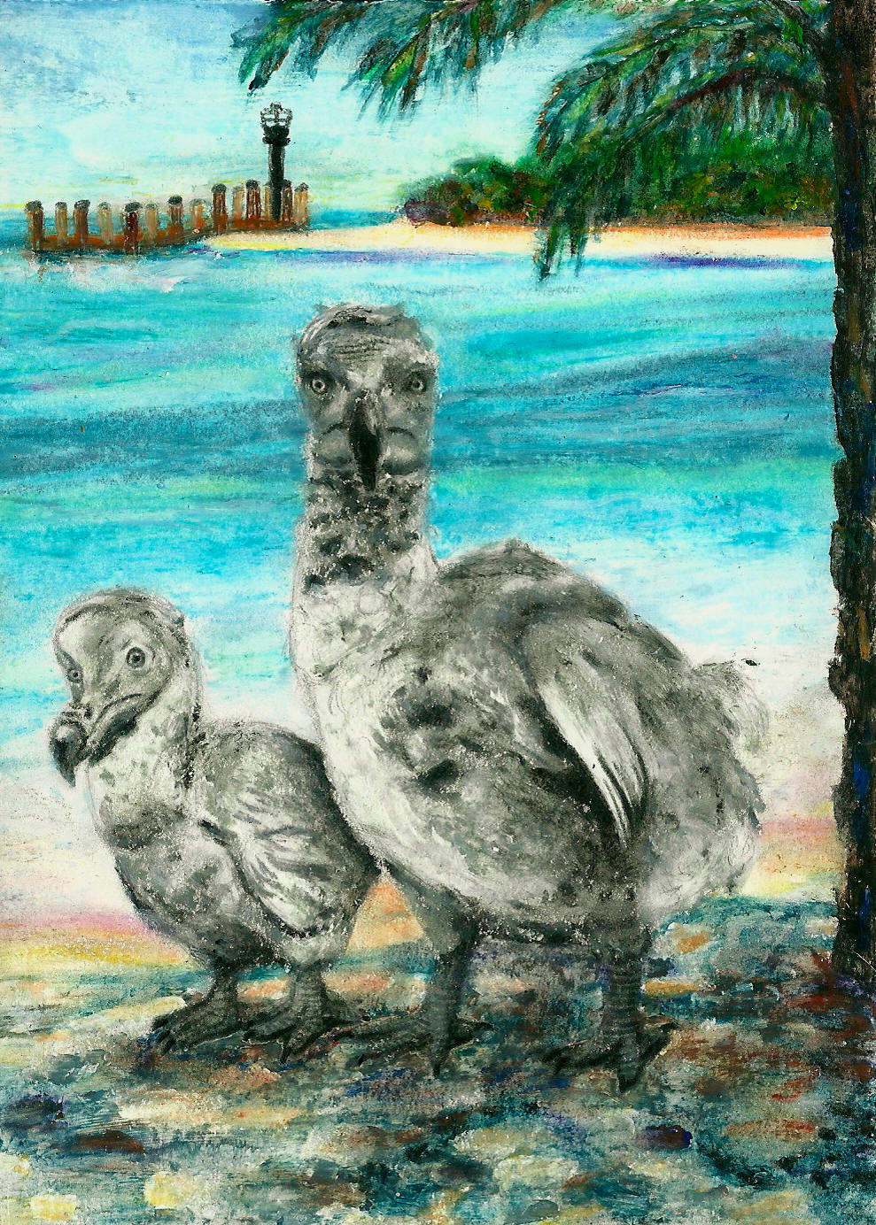 Dodo and Chick on the Beach