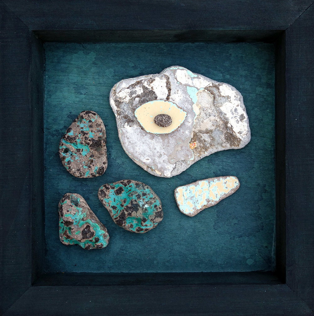 Shelby Prindaville assemblage beachcombed stones turtle Drift Daydream.jpg