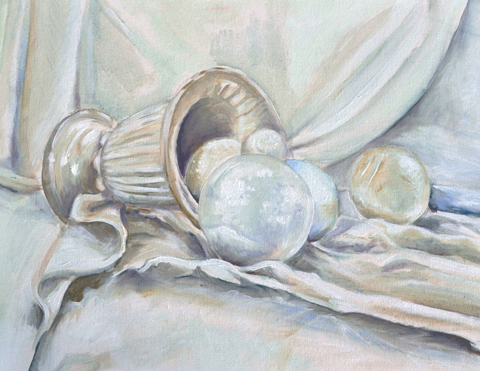 Painting I - USM Spring 2014White objects still life oil on canvas, 16x20