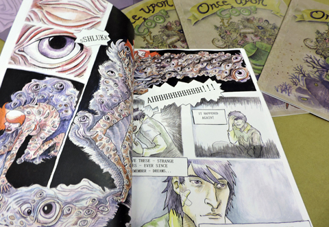 Senior Exhibit - USM Spring 2015Comic books designed using watercolor, ink, and digital processes (created for inclusion in group thesis show), 10.5x7