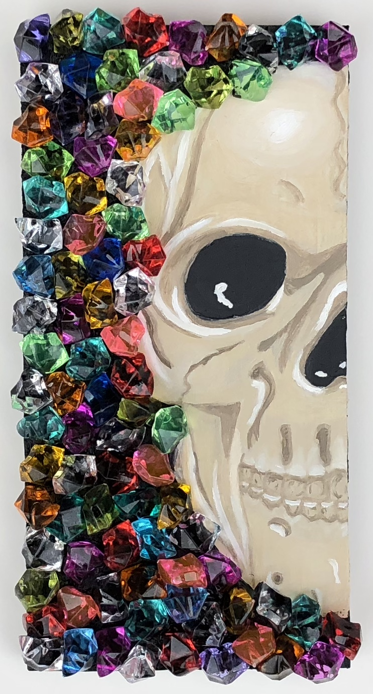 Painting I - USM Fall 2018Mixed media exercise (student choice with faculty guidance) oil on panel with plastic gems, 6x12x1.5""