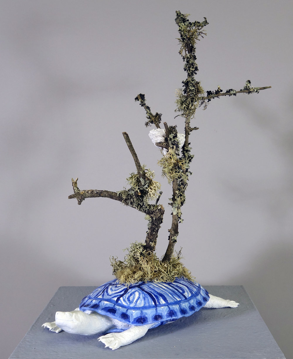 Turtile - Mixed media including QuickCure Clay, found branches, and acrylic, 12.5x7.5x17.5